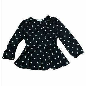 Monteau Black & White Polka Dot Blouse Size Large